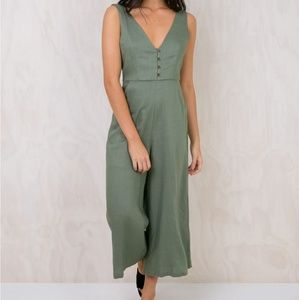Princess Polly Khaki Jumpsuit (XS) NWT